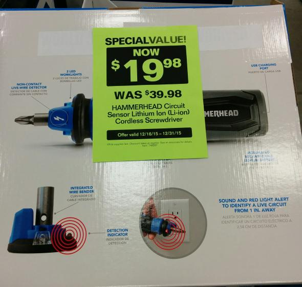 Hammerhead Cordless Screwdriver discount at Lowes