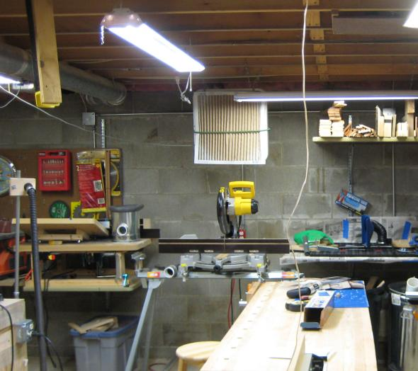 New LED Shoplight above the bench