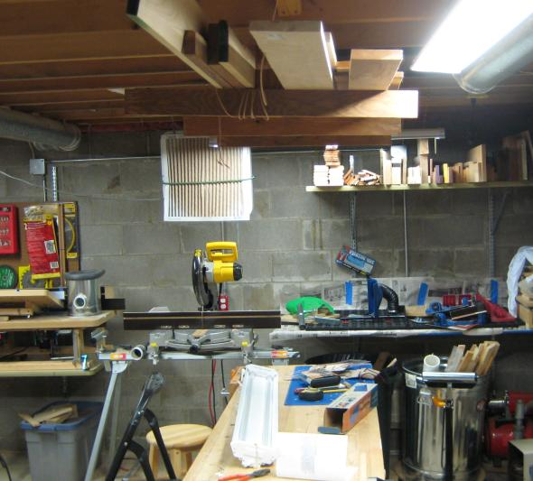 Removing the wood storage above the workbench