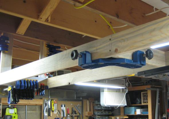 Using the ClampIt suspended from the overhead Storage