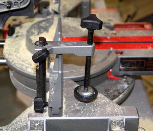 M18 Fuel Miter Saw holddown closeup