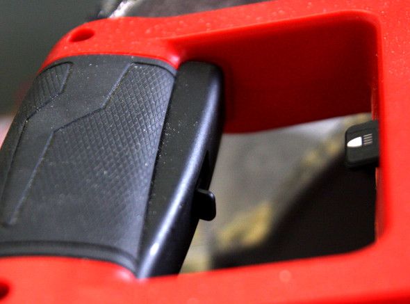 M18 Fuel miter saw handle closeup