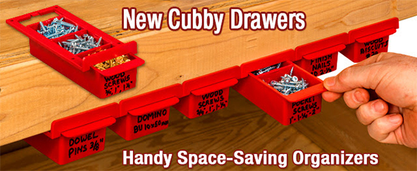 Woodpeckers Cubby Drawers Installed Under Workbench