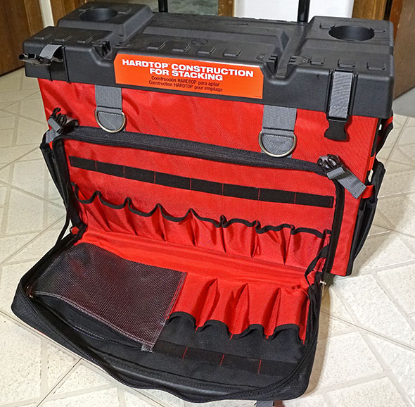 Milwaukee 24 inch hardtop rolling bag with front pocket open