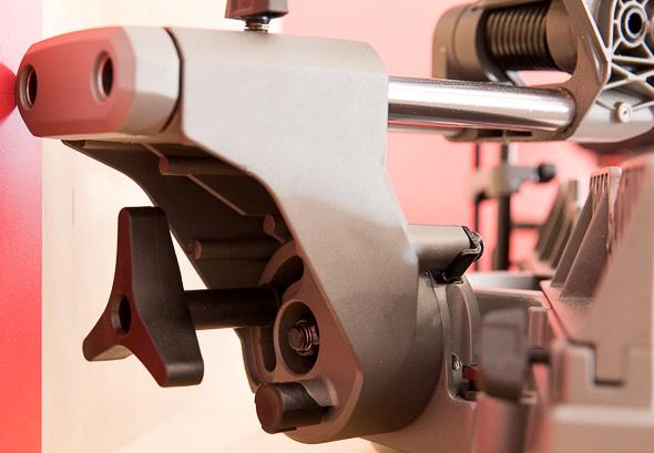 Milwaukee M18 Fuel Compact Sliding Miter Saw Rear and Bevel Adjustment Knob