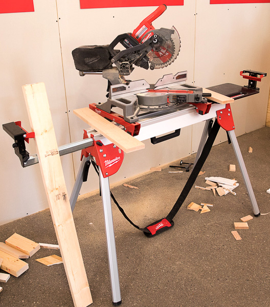 Milwaukee M18 Fuel Compact Sliding Miter Saw on Compact Stand