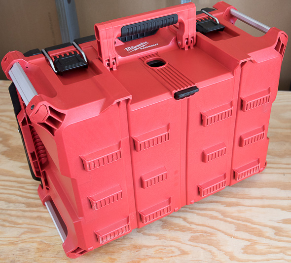 Milwaukee Packout Tool Storage Large Tool Box Standing Vertically with Front Handle Up
