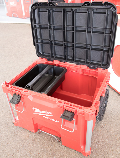 Milwaukee Packout Tool Storage Roller Tool Cart Open Lid with Tool Tote