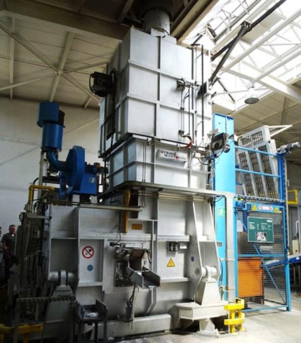 furnace for melting aluminum ingots for die casting at Metabo factory