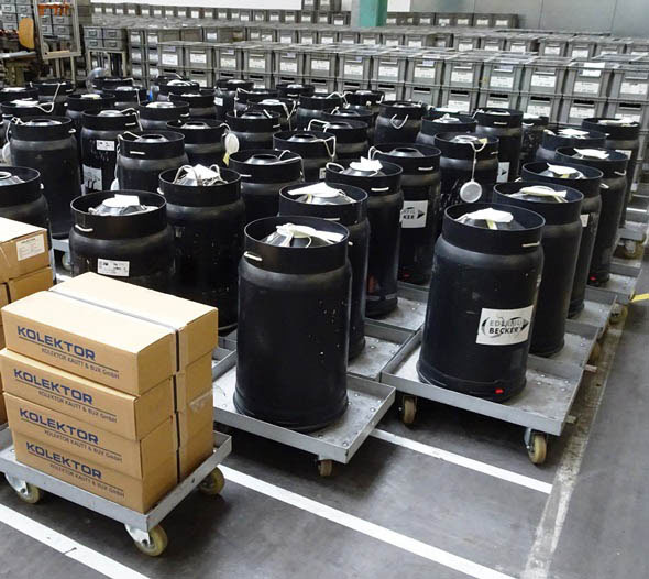 kegs of copper wire for winding motors at Metabo factory