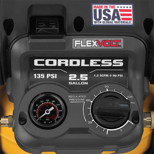 Dewalt Cordless Air Compressor DCC2560T1 Control Panel
