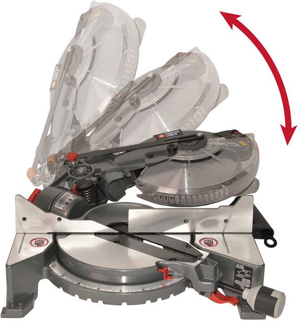 Porter Cable PCXB115MS Fold Down Miter Saw Head Movements