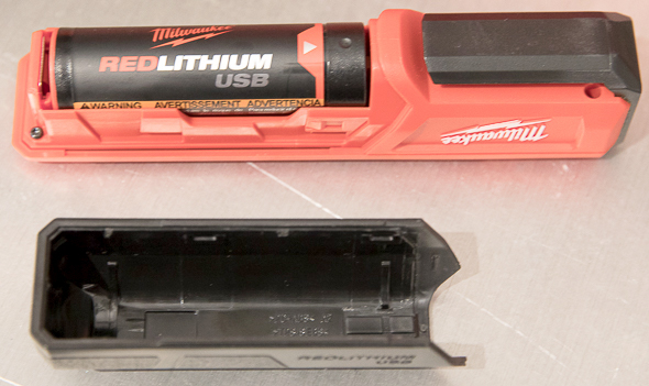 Milwaukee Rover USB Rechargeable LED Flashlight Battery Compartment