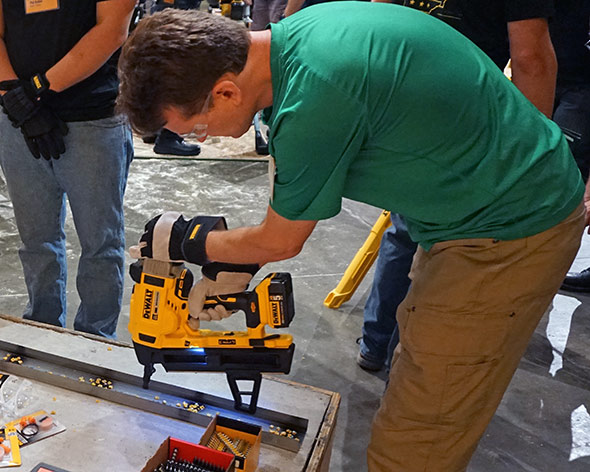 Ben trying out the Dewalt 20V Max concrete nailer