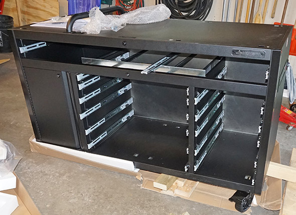 Husky Mobile Workbench with Pegboard powder coated carcass