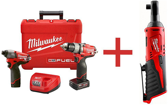 Milwaukee M12 Fuel Drill and Impact Kit with free Ratchet