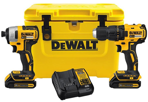 dewalt brushless drill and impact driver combo and cooler kit