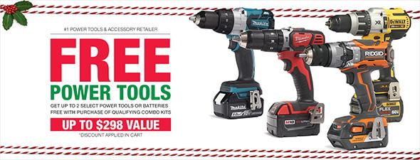 Home Depot 2017 Holiday Power Tool Free Bonus Deal Banner