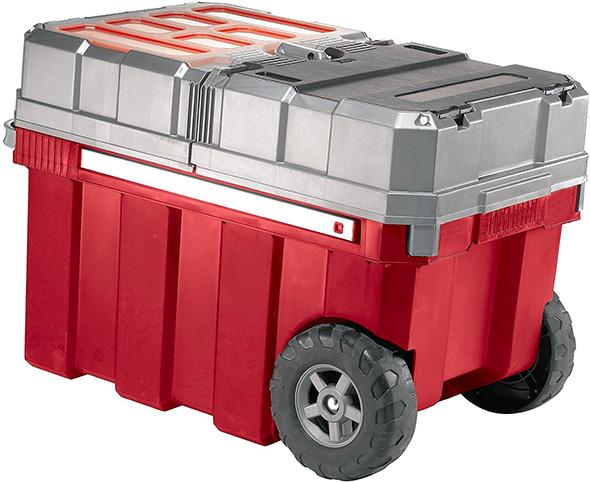 Keter Masterloader Plastic Portable Rolling Organizer Tool Box Storage Solution