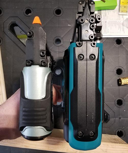 Hitachi Air Pin Nailer Compared to Makita Cordless Pin Nailer from Top