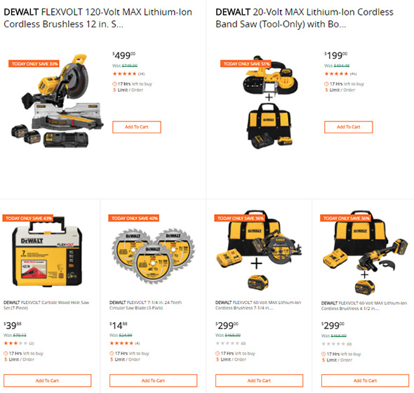 Dewalt Tool Deals of the Day at Home Depot 3-12-2018