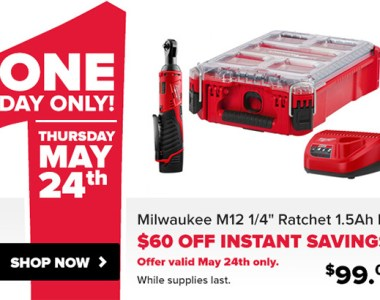 Tool Nut Milwaukee M12 Rtachet and Packout Deal