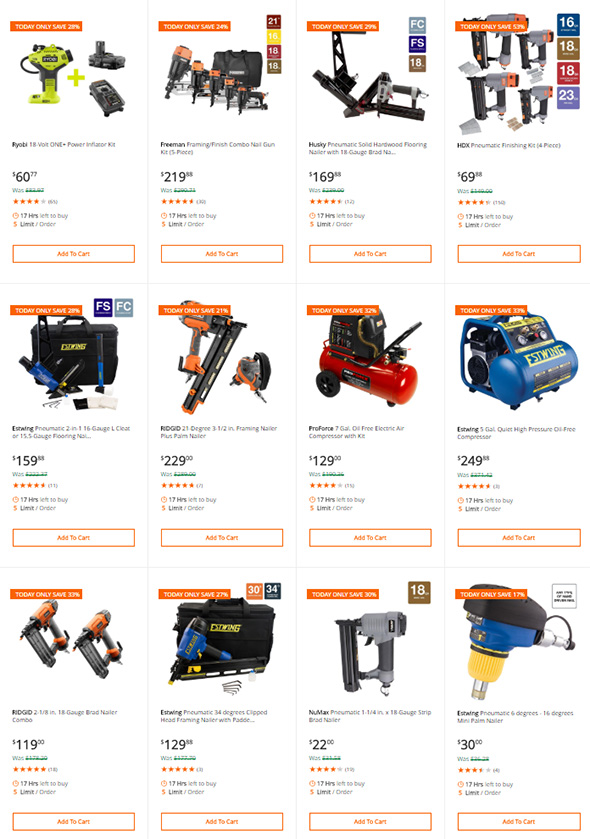 Home Depot Air Compressors and Nailers Deal of the Day 6-13-2018 Group 2