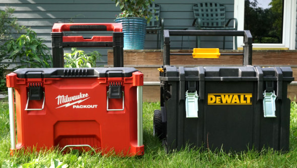 Milwaukee Packout and Dewalt Tough System Rolling Toolboxes side by side