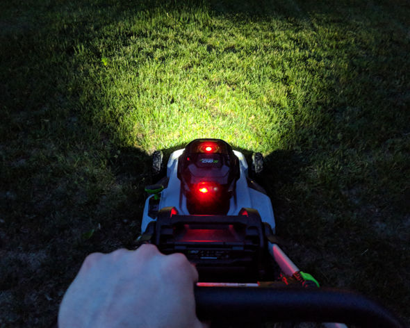 EGO mower battery hits 15 percent or less charge