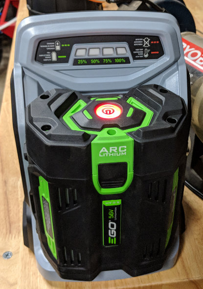 Ego Mower 5 Ah battery on charger
