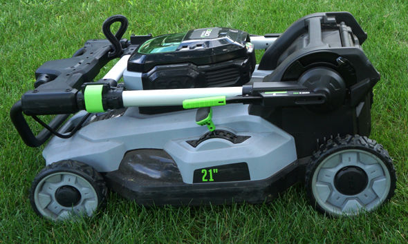 Ego mower in folded up state