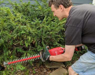 Milwaukee M18 Fuel Hedge Trimmer in Action