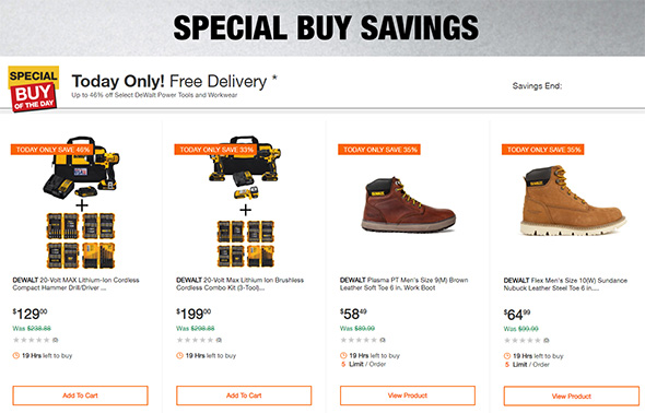 Home Depot Dewalt Drill and Drivers Deal of the Day August 23 2018