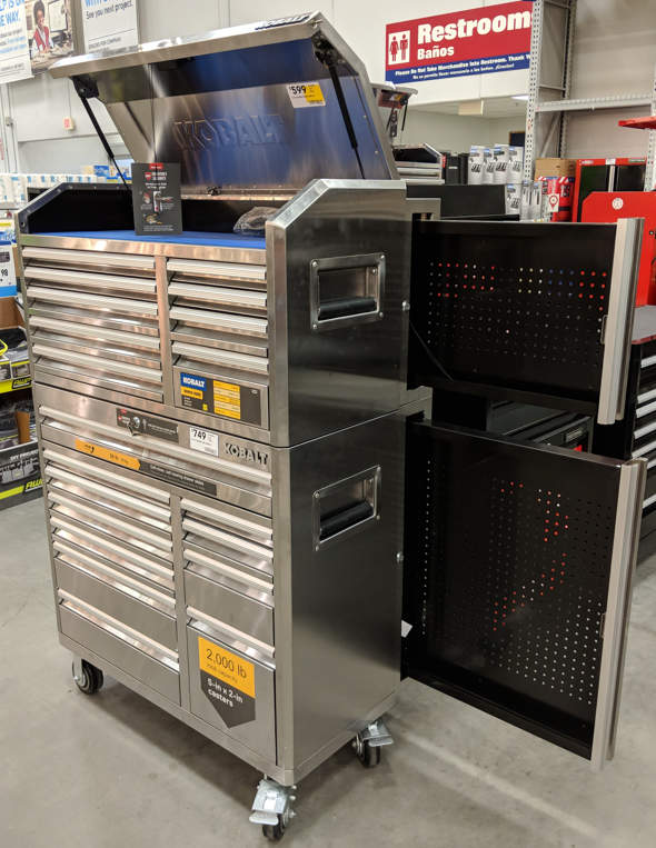 Kobalt Tool Chest and Cabinet with Slide-out Pegboard