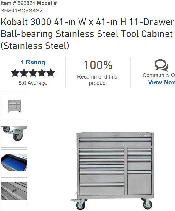 Lowes Kobalt 3000 Tool Cabinet web page