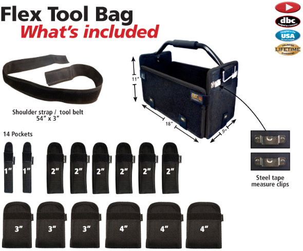 What is included in with the FastCap Flex Toolbag