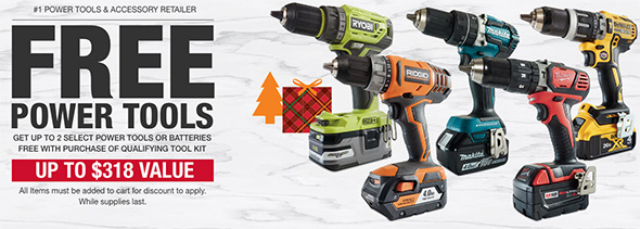 Home Depot Free Power Tools with Combo Kit Holiday 2018 Promo