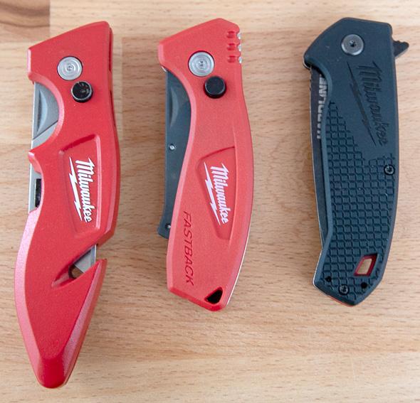 Milwaukee Compact Fastback Utility Knife Compared to Fastback Knife and Hardline Folding Knife