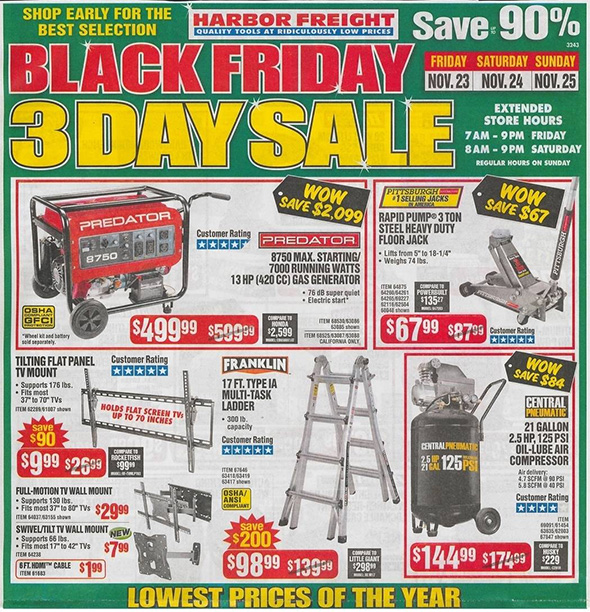 Harbor Freight Black Friday 2018 Ad Scan Page 1