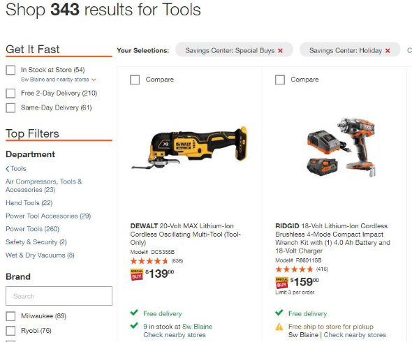 Home Depot Holiday Tool Special Buys 2018