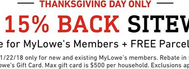 Lowes Thanksgiving Day 2018 Rebate