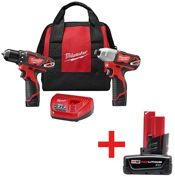 Milwaukee 2494-22B M12 Cordless Drill and Impact Driver Combo Kit with Bonus Battery