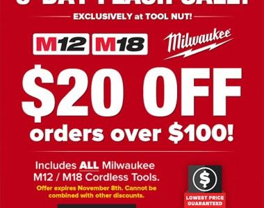 Milwaukee Cordless Tool Flash Sale Nov 2018
