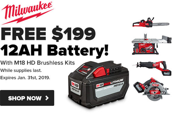 Tool Nut Milwaukee HD Battery Promo Holiday 2018