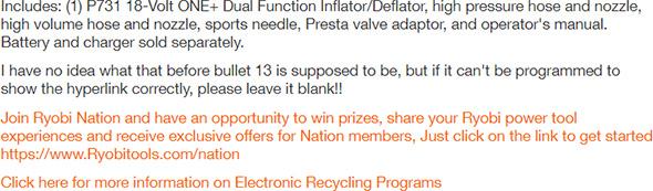 Ryobi Cordless Inflator Product Description Goof