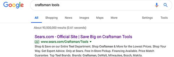 Sears Craftsman Google Search Ad
