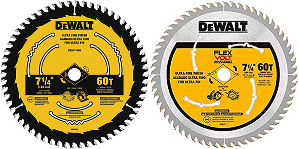 Dewalt New Circular Saw Blade Compared to FlexVolt Saw Blades