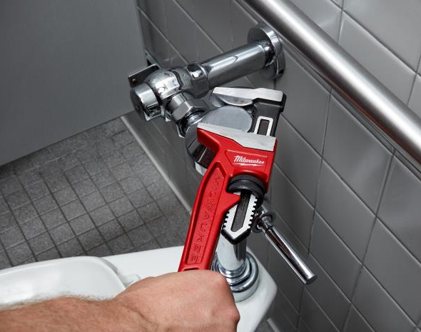 Milwaukee Smooth Jaw Pipe Wrench Used on Plumbing Fitting