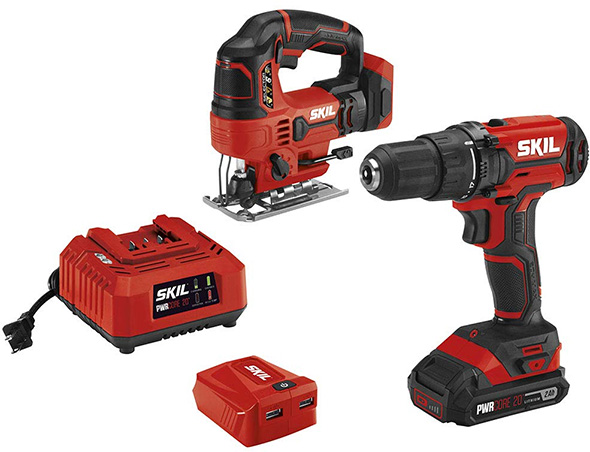 Skil 20V Jig Saw and Drill with USB Charger Combo Kit