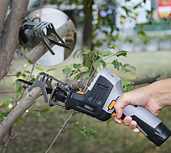 Tacklife Compact Cordless Reicprocating Saw with Branch Jaws Cutting in Action